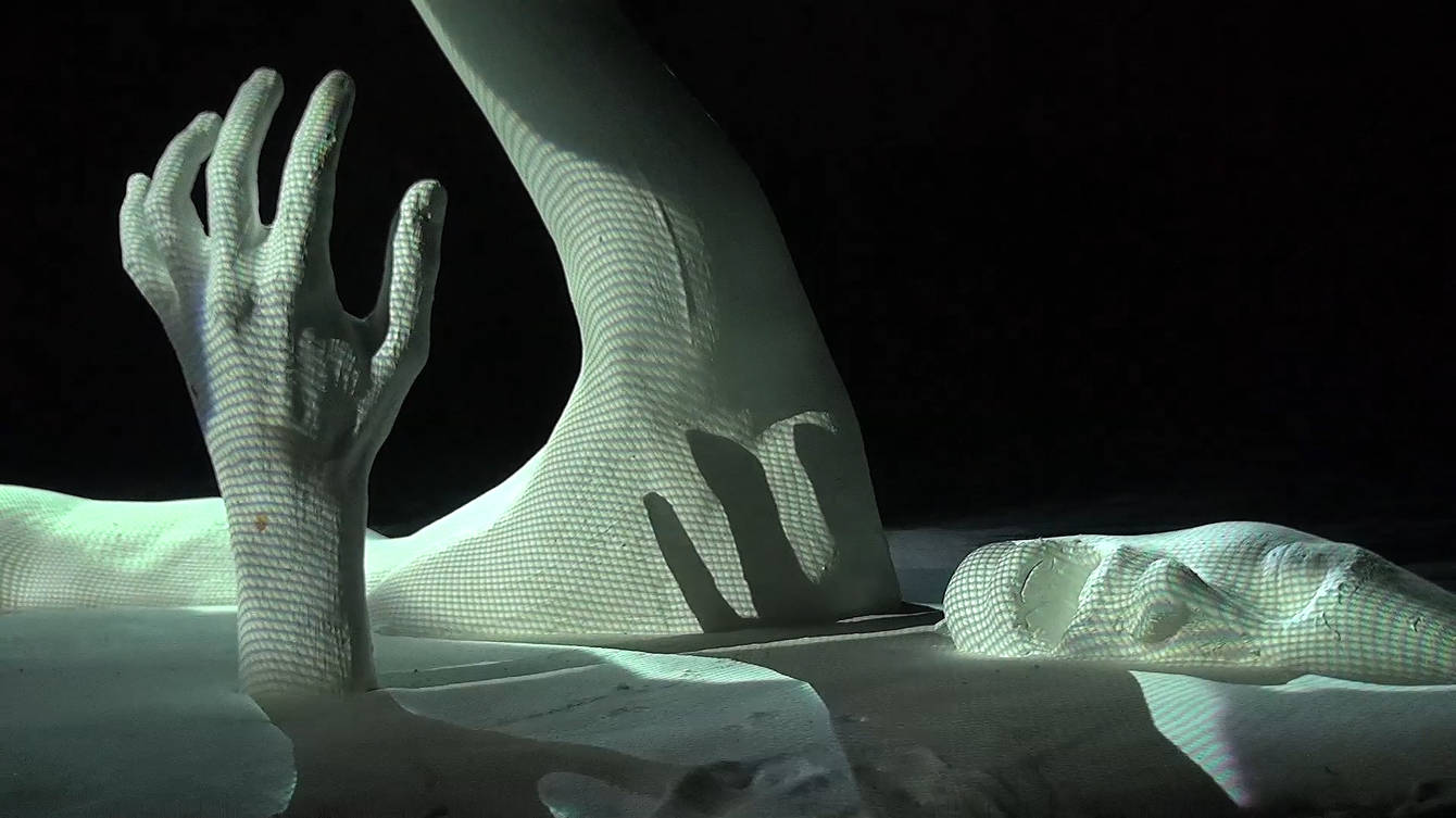 resorb projection mapping on sculpture